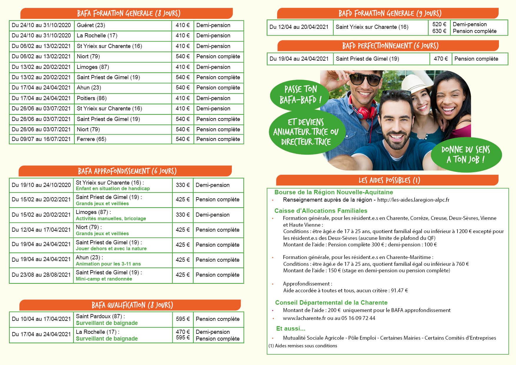 Le calendrier – BAFA Nouvelle Aquitaine – Deviens un citoyen actif
